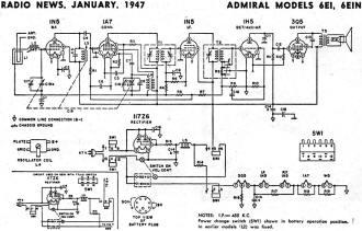 Admiral Models 6EI, 6EIN Schematic & Parts List Schematic