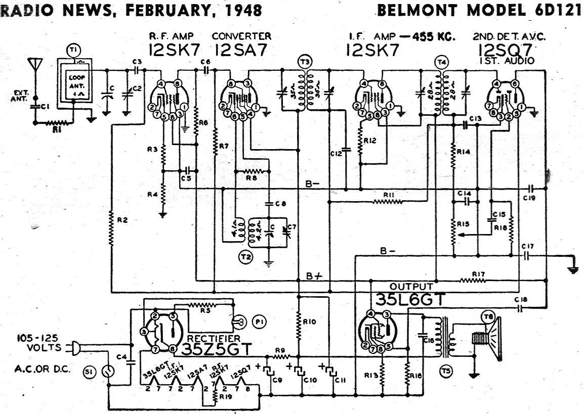Belmont Model 6D121 Schematic & Parts List, February 1948