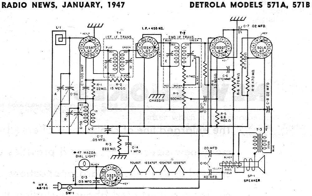 Detrola Models 571A, 571B Schematic & Parts List Schematic