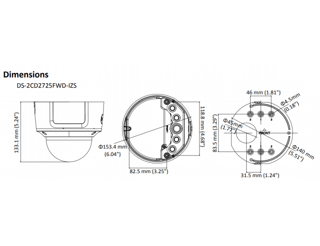 Hikvision DS-2CD2725FWD-IZS 2MP WDR 2.8-12mm Network Dome