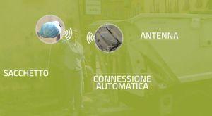 Sistema Ambiente a Lucca: Lettura del sacchetto rifiuti smart dotato di tag RFID