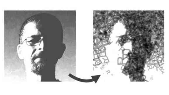 On the left is a black and white portrait and on the right is the image re-created using only the letter 'R'