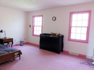 このピンクのウィンドウトリミングにカーペット。。。(涙)