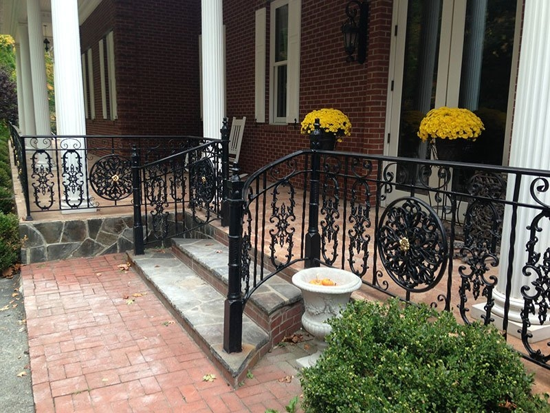 Custom Wrought Iron Railing Installation Putnam County Ny R | Cast Iron Handrails For Stairs | Baluster Curved Stylish Overview Stair | 1920'S | Iron Railing | Exterior Stair | Georgian