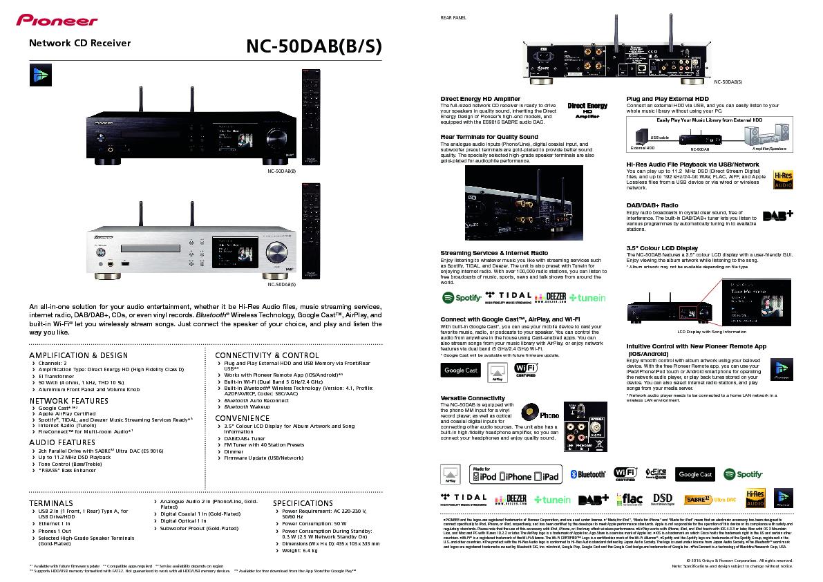 Pioneer NC-50DAB-S ricevitore amplificato in Classe D con