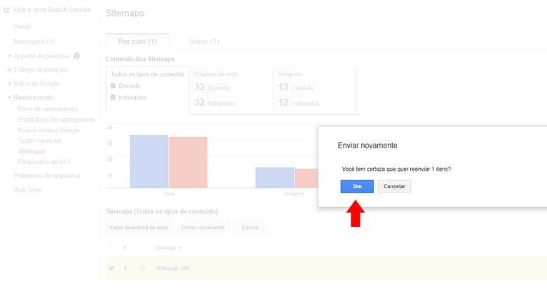 Google Search Console: Confirmando o envio do sitemap