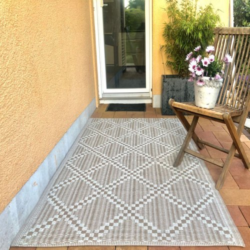 Outdoor Teppich Rautendesign 120x180cm