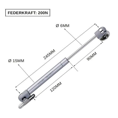 Gasdruckfeder Gasdruckdämpfer Gasfeder Dämpfer 245MM Küche Möbel mit Beschlag Grau