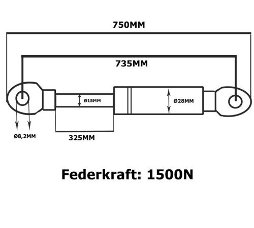 gasdruckfeder gasdruckdämpfer 750N