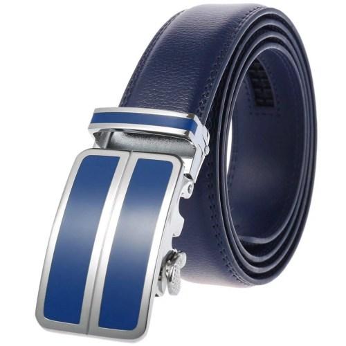 Herrengürtel Herren Gürtel mit automatik Gürtelschnalle Blau