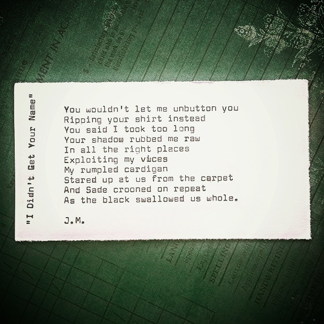 I Didn't Get Your Name (a poem)