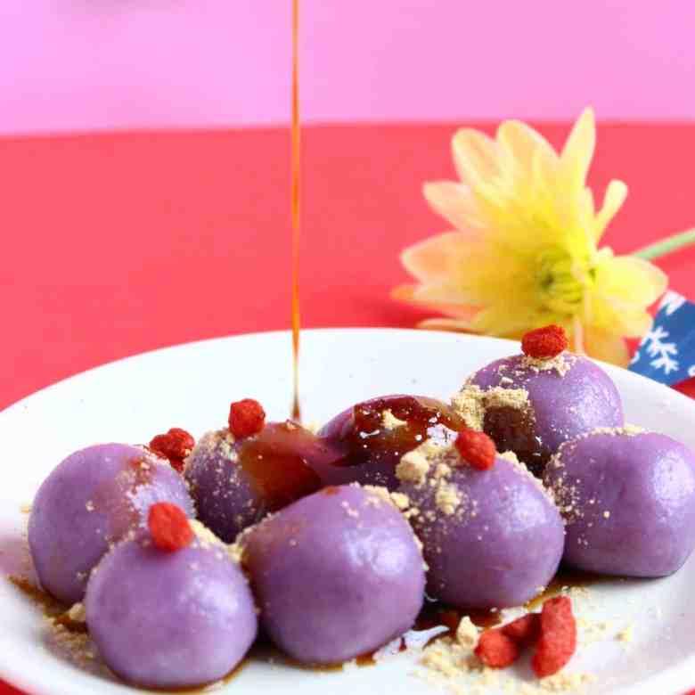 Purple Sweet Potato Mochi (Vegan + GF)