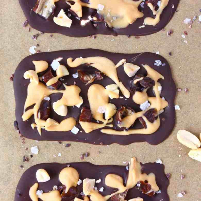 Peanut Butter Salted Caramel Chocolate Bars (Vegan + GF)
