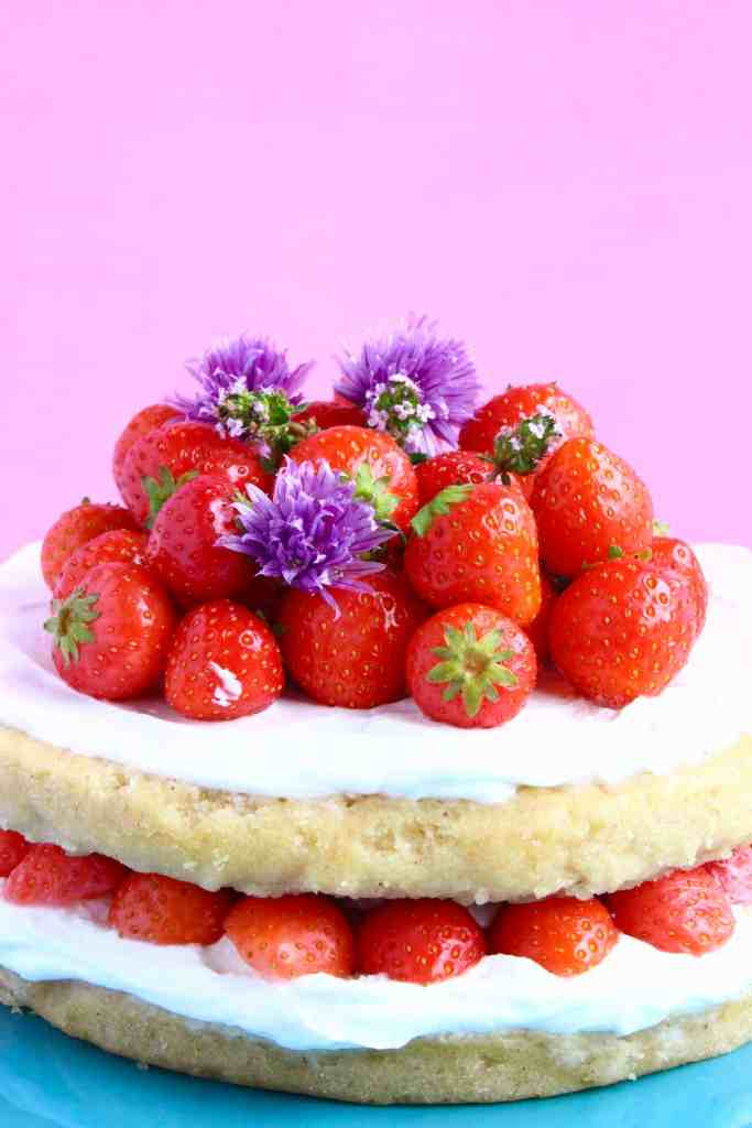 Gluten-Free Vegan Strawberry Sponge Layer Cake