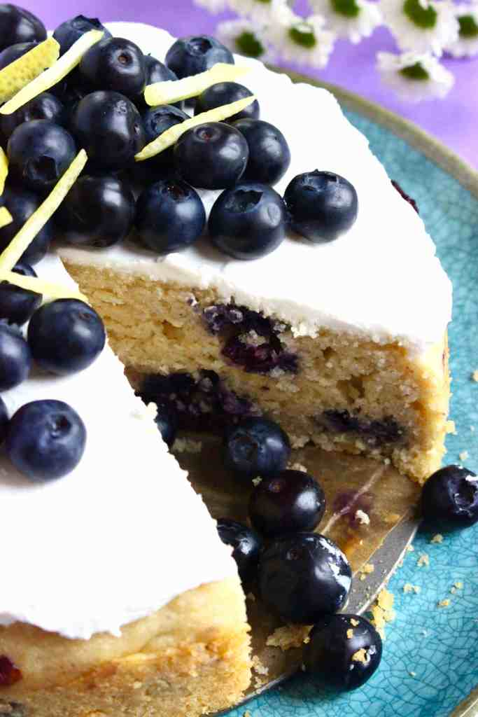 Gluten-Free Vegan Lemon Blueberry Cake