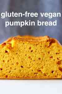 Photo of a sliced loaf of pumpkin bread against a grey background