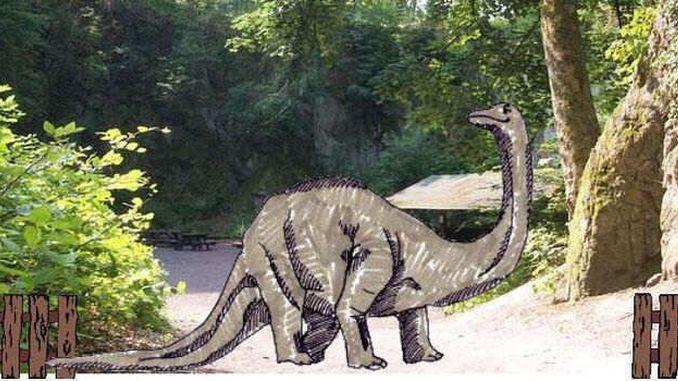 Dinosaur at Nassenplatz, Siebengebirge (collage)