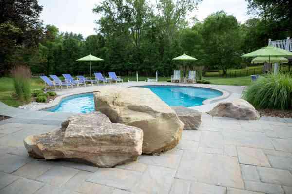 swimming pool dive rock hardscape