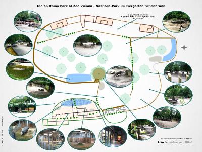 Übersichtsplan Nashornanlage Tiergarten Schönbrunn, zum Vergrößern auf Bild klicken