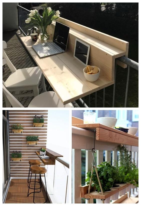 espace repas sur un petit balcon rhinov