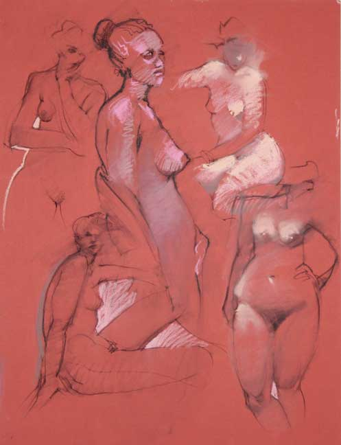 Five Nudes On Red Paper
