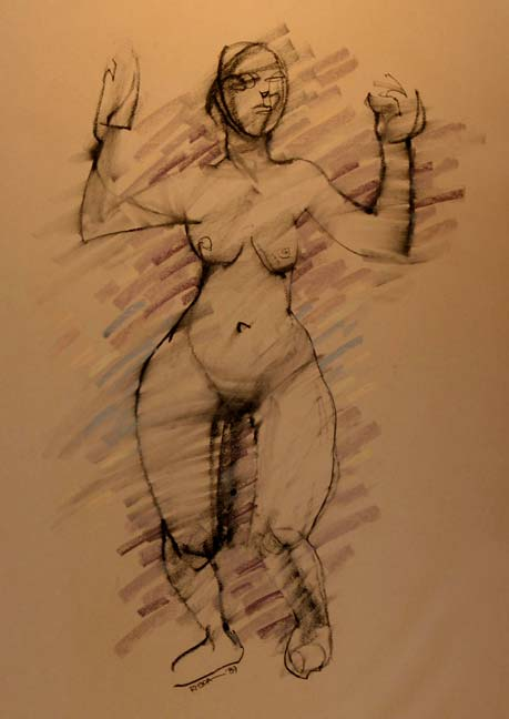 Charcoal Drawing Of Stylize Female Nude