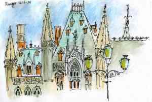 Brugge sketch - market square
