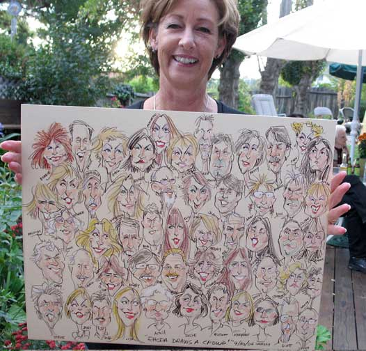 caricature artist Rhoda Draws caricatures in colored pencil