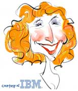 live caricature drawings - digital: IBM woman red head