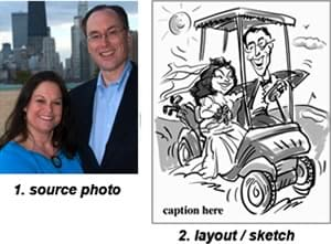 1. wedding couple source photo 2. layout sketch: golf cart wedding caricature
