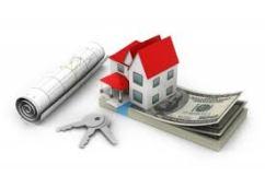 house model, money, keys