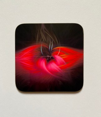 Twirl Tulip on a photographic hardboard coaster. Square hardboard coaster with rounded edges. Size: 90x90x3mm Weight 0.1kg