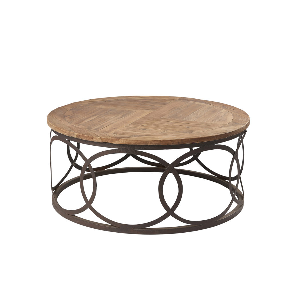 hudson bay round rustic wooden coffee table