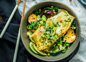 Curry Poached Cod and Roasted Bok Choy Salad