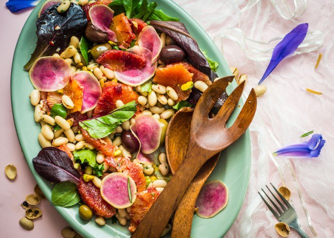 Winter Citrus Salad with Marinated White Beans & Olives