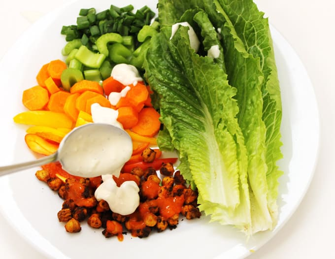 Buffalo chickpea salad with blue cheese dressing