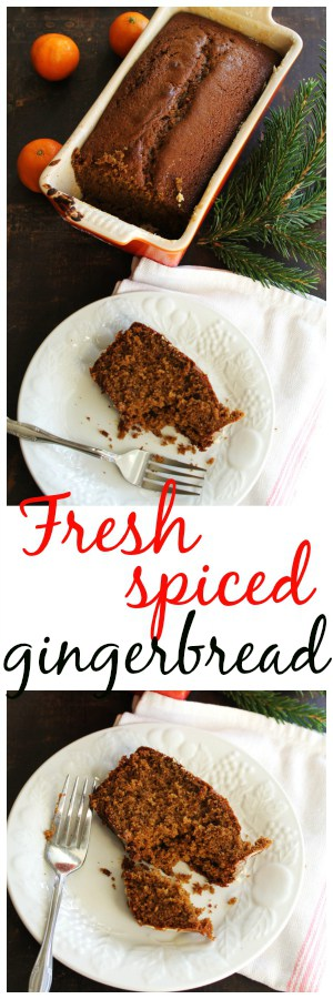 Fresh, warm, spiced gingerbread! A delicious classic recipe made with fresh ginger. YUM!