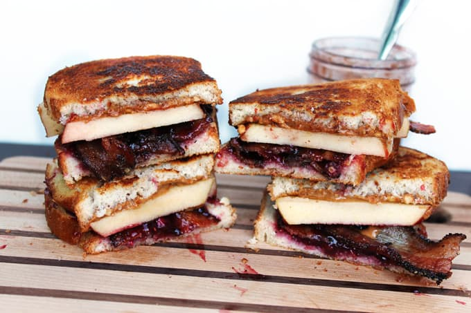 Ultimate PB&J! grilled pb&j with bacon apple and pomegranate