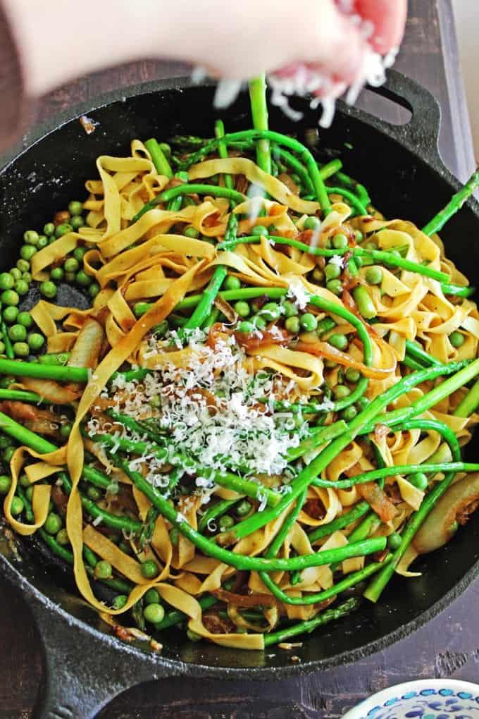 parmesan on spring pasta