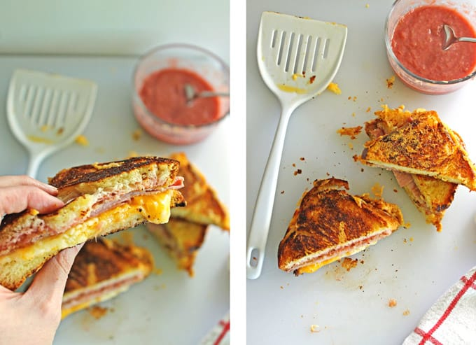 Grilled ham and cheese with mustardy rhubarb jam