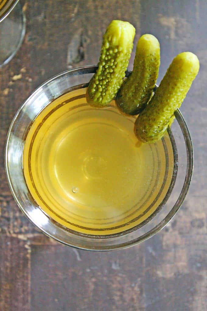 Dill pickle vodka martini