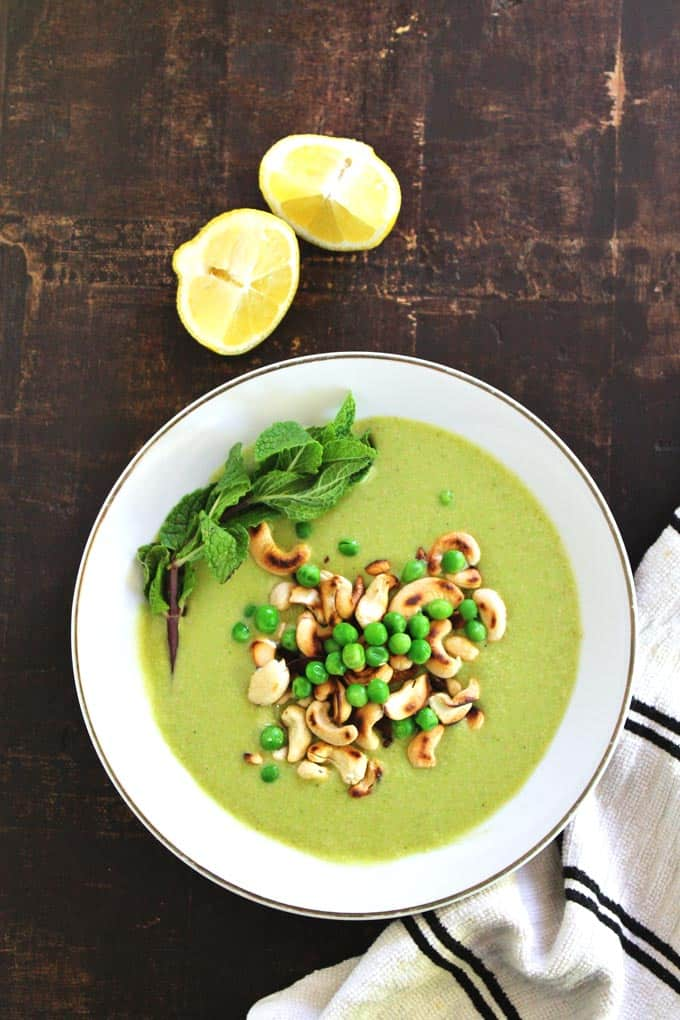 Chilled pea cucumber cashew soup with mint recipe // Rhubarbarians