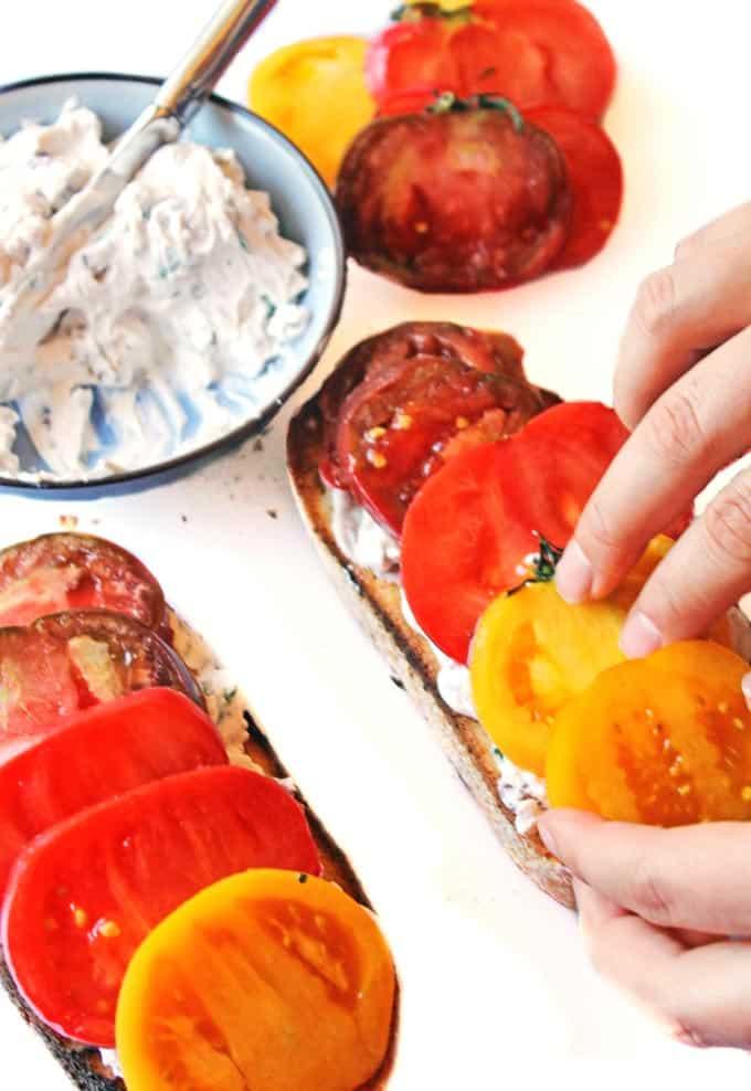 Heirloom tomato toast with olive walnut basil cream cheese // Rhubarbarians