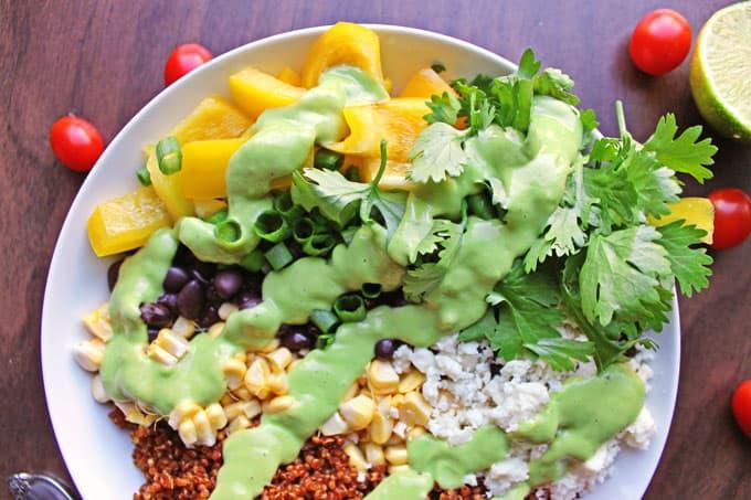 salad with avocado dressing