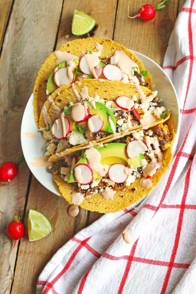 Fresh corn and black bean tacos with smoky sour cream // Rhubarbarians