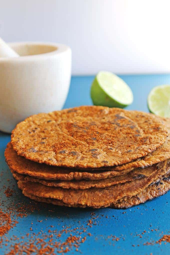 Homemade ancho chile lime corn tortillas! Simple, 3 ingredient recipe for delicious homemade tortillas. So much better than store bought!