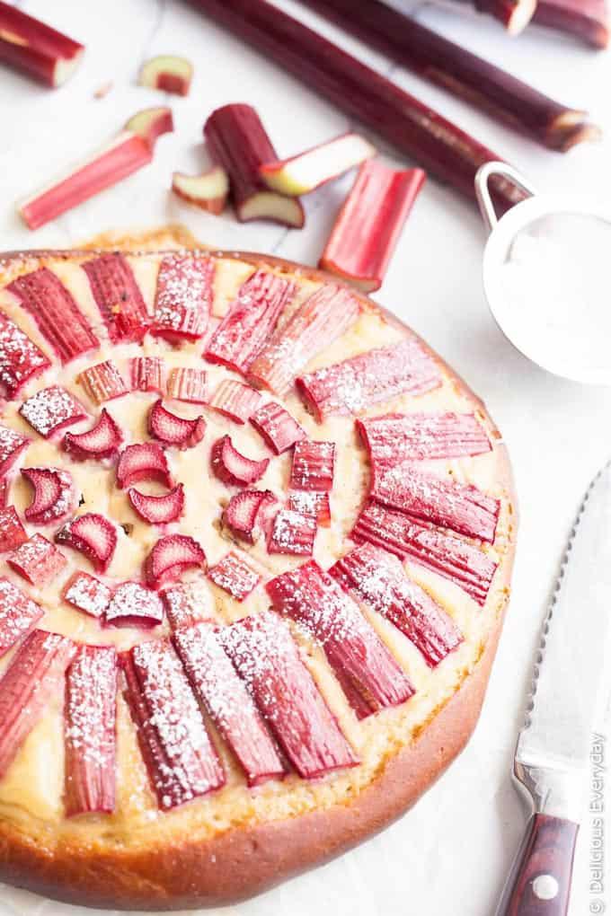 Rhubarb custard brioche tart + 15 of the BEST vegetarian rhubarb recipes from around the web!