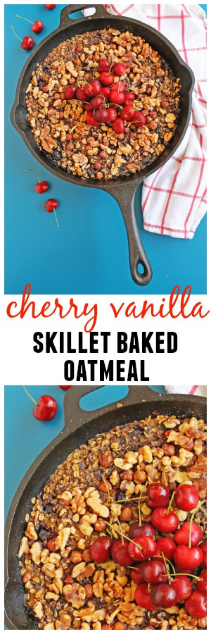 Cherry vanilla skillet baked oatmeal recipe! An easy and healthy way to enjoy a rustic oatmeal breakfast free of refined sugar. Vegetarian, gluten free, delicious!