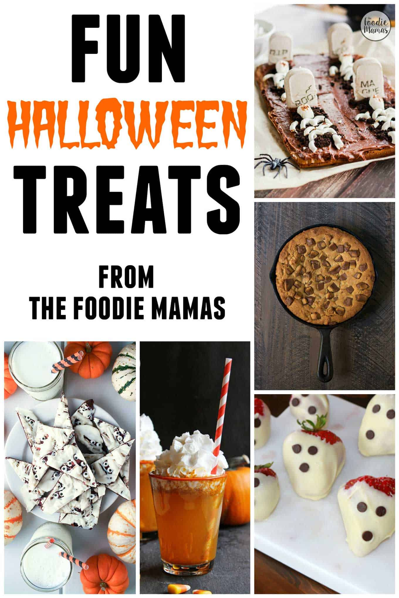 Awesome, family friendly Halloween treat recipes from The Foodie Mamas! Sure to make your Halloween party the best on the block!