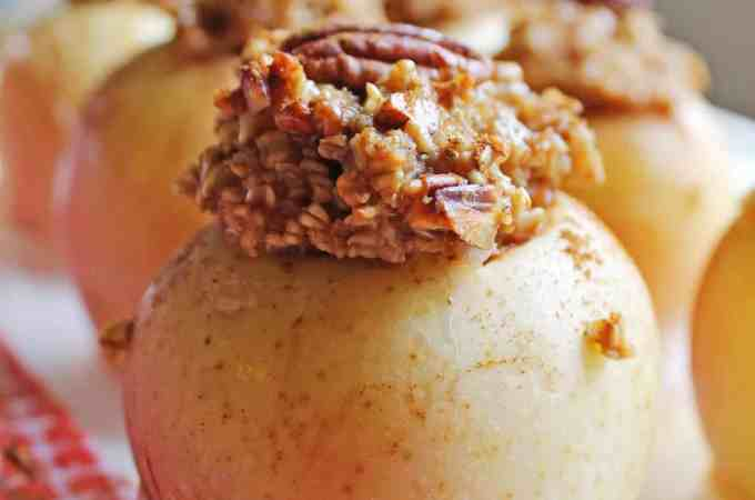 Maple pecan steel cut oatmeal baked apples